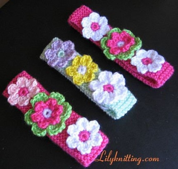 Knit Headband Pattern With Crochet Flower : PATTERN in PDF Crocheted/Knitted flower baby by LilyKnitting