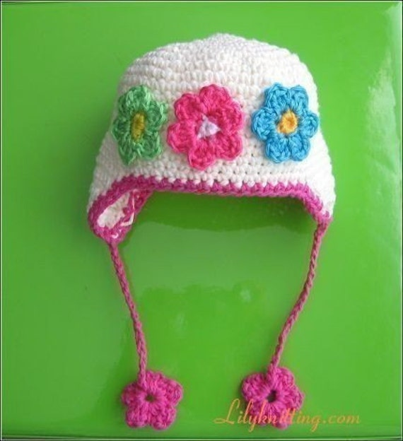 PATTERN in PDF crocheted baby earflap Flower beanie hat 12