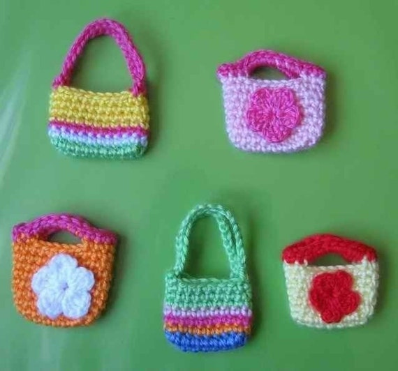 Patterns in PDF -- a set of 2 hand crocheted purse bag patterns for American girl and Gotz or Blythe or similar 18 inches dolls