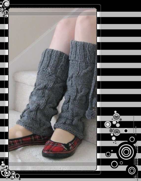 PATTERN in PDF Knitted cable leg warmers -- Large size