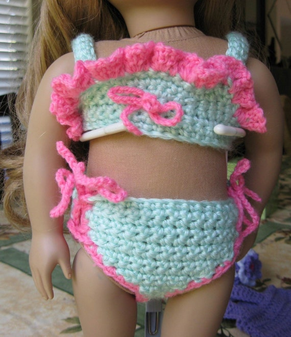 Pattern in PDF -- Crocheted doll clothes Swimsuit and cape For American girl or similar 18 inches dolls