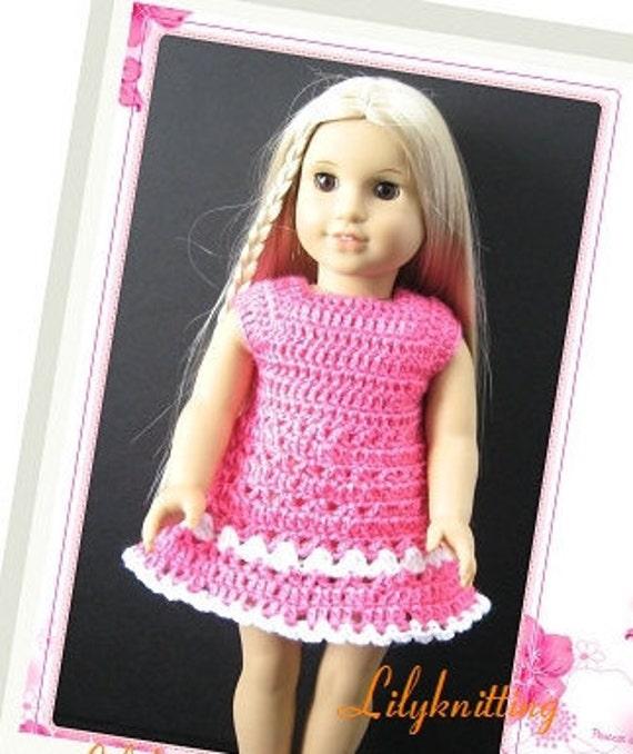 PATTERN in PDF -- crocheted doll dress fits American girl, Gotz, My twin or similar 18 inches dolls -- Doll Dress 22