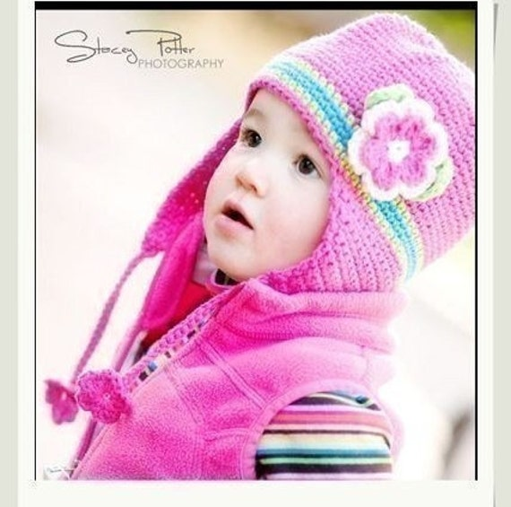 PATTERN in PDF Crocheted baby earflap beanie/hat with a large rose flower -- 6 - 9 months and 9 - 12 months