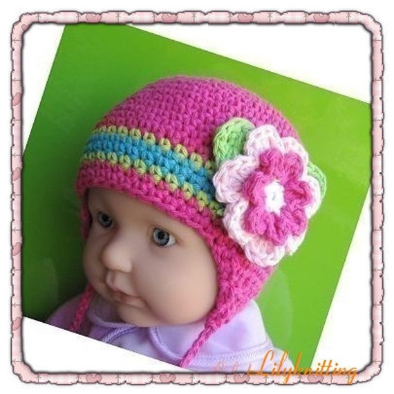 Crochet Baby Hat Patterns 0 3 Months : Pattern in PDF Crocheted baby earflap beanie hat 0 3