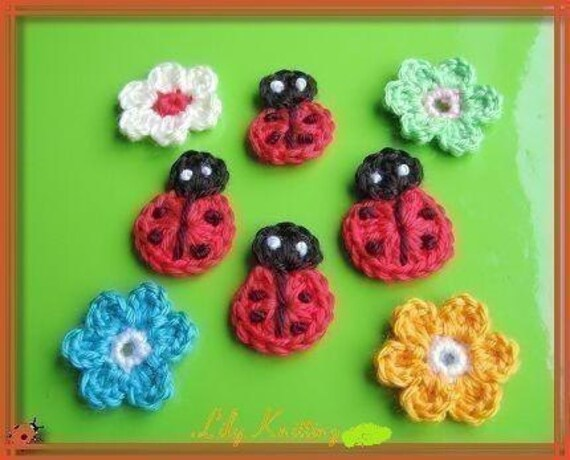 PATTERN crocheted Flower applique -- Ladybug and Flower
