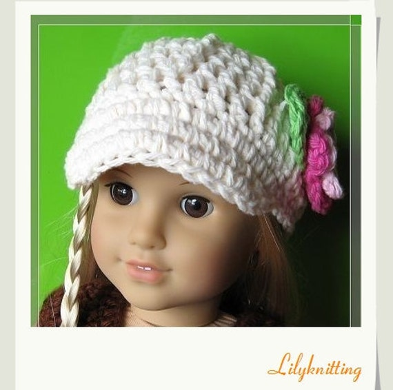 Crochet Hat Pattern American Girl Doll : PATTERN in PDF crocheted doll cap hat for American girl gotz