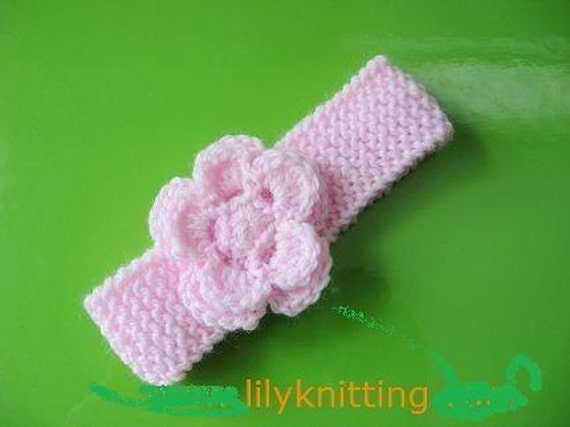 PATTERN in PDF Crocheted/Knitted flower baby headband -- Headband 6