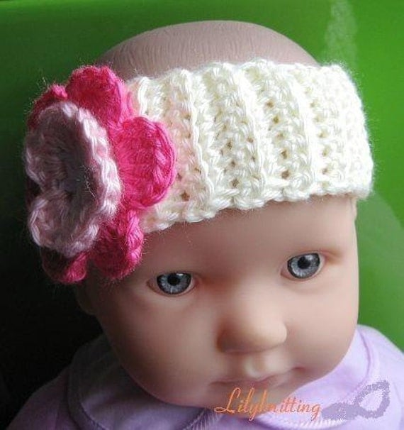 Crochet Headband Pattern For Baby With Flower : PATTERN in PDF Crocheted baby flower headband Headband 2