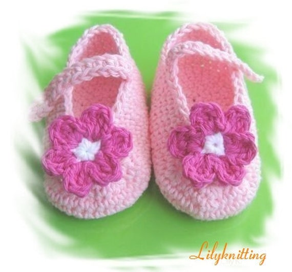 PATTERN in PDF Crocheted baby maryjane/booties/shoes (Pink) -- 3 - 6 months