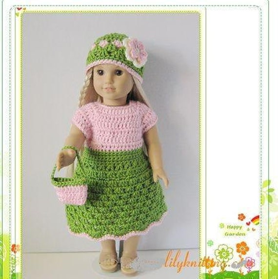 Crocheting Doll Clothes : Pattern in PDF -- crocheted doll clothes dress for American Girl, Gotz ...