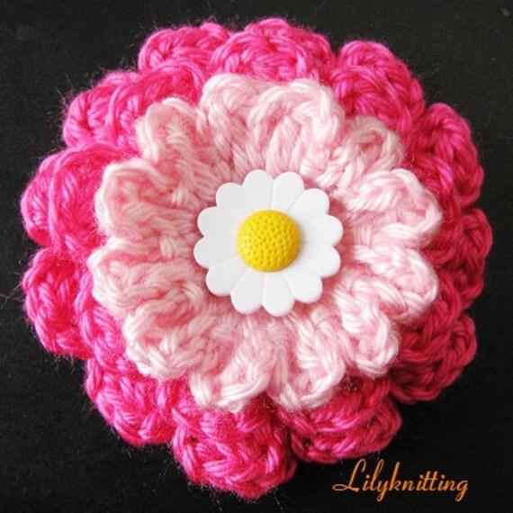 PATTERN in PDF crocheted flower applique, Motify, Rose Flower -- Flower 53