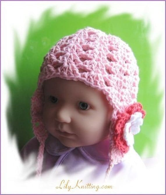 PATTERN crocheted baby earflap beanie/hat with a 2-layer