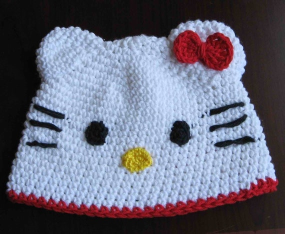 Crochet Kitty Hat Pattern : PATTERN crocheted Hello Kitty beanie hat in size of 0 - 3 months and 3 ...