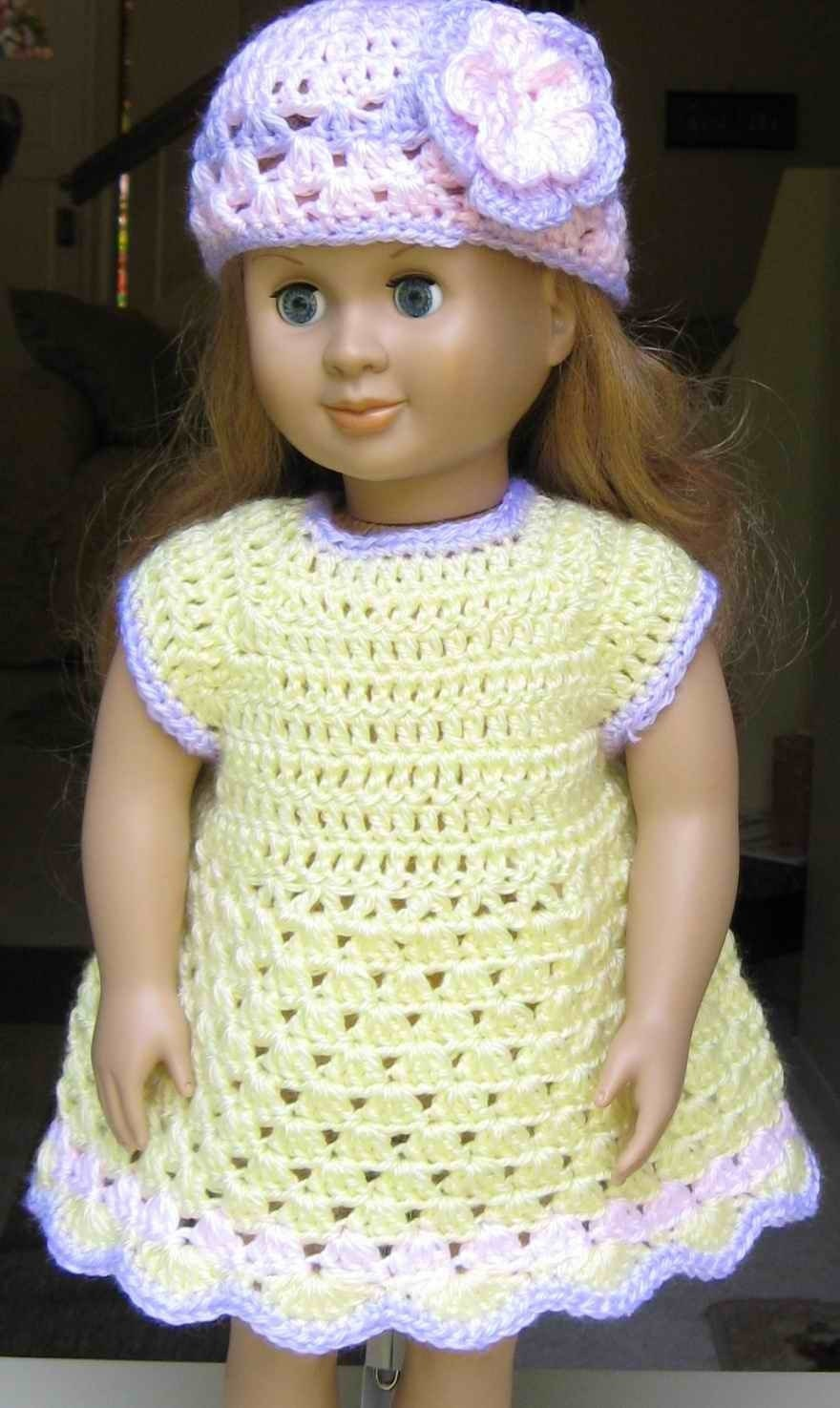 Free Knitting Patterns For Our Generation Dolls : PATTERN Crocheted doll dress for American Girl Gotz or