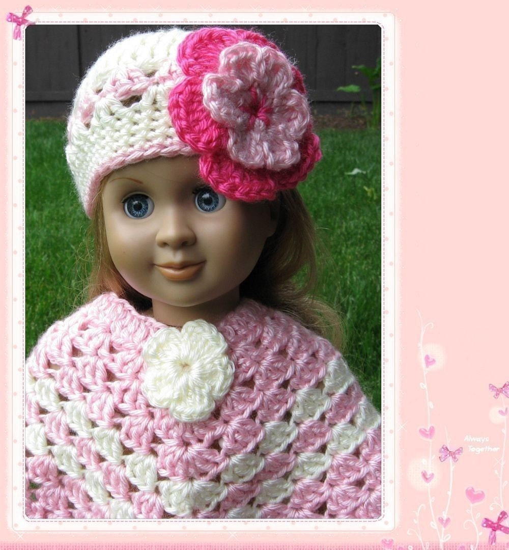 Pattern In PDF Crocheted Doll Poncho For American Girl