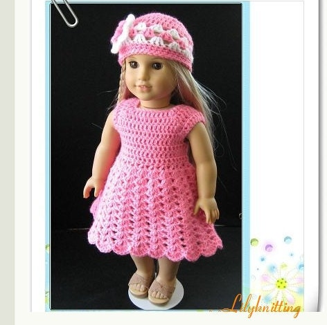 PATTERN in PDF Crocheted doll dress for American by LilyKnitting