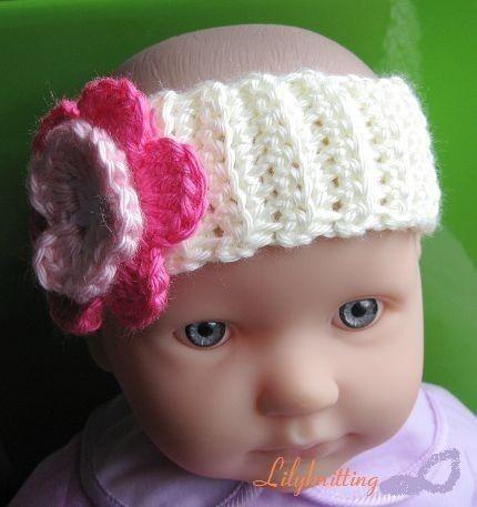 Large Crochet Flower Pattern For Headband : PATTERN in PDF Crocheted baby flower headband by LilyKnitting