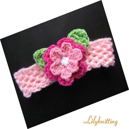 Large Crochet Flower Pattern For Headband : PATTERN in PDF Crocheted flower headband baby headband