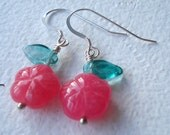 Fuschia Jade Flower Earrings