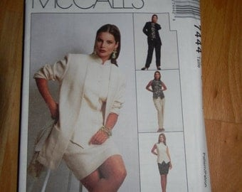 McCalls Misses Unlined Jacket, Top, Pants and Skirt Pattern N-7444 Dated 1995 Uncut Sizes 10 thru 14