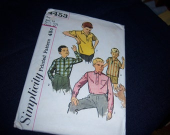 Vintage Simplicity Printed Pattern 4453 Polo Style Shirt for Boys