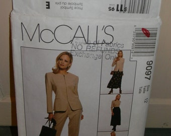 McCall's Jones New York Jacket, Pants and Skirt Pattern N9097, uncut Size 12