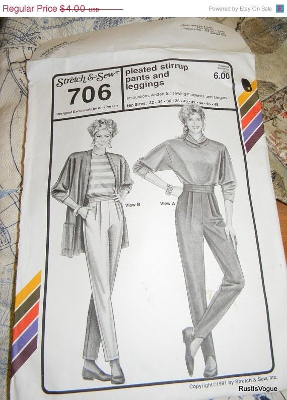 Cobweb Clearing Vintage Stretch and Sew Pleated Stirrup Pants and Legging, Pattern N-706 Ann Person Multi Sized UnCut