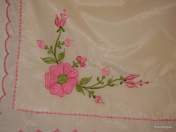 Reserved for Victorian Lady Vintage Pillow Shams, Pink Embroidered Flowers