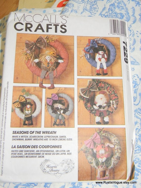 McCalls Craft Pattern Seasons of the Wreath N7229, Dated 1993 Uncut