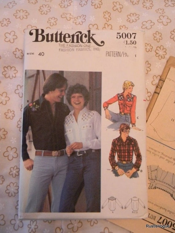Vintage Simplicity Mens Shirt and Embroidery Transfers Pattern N 5007 Uncut, Uncut Size 40