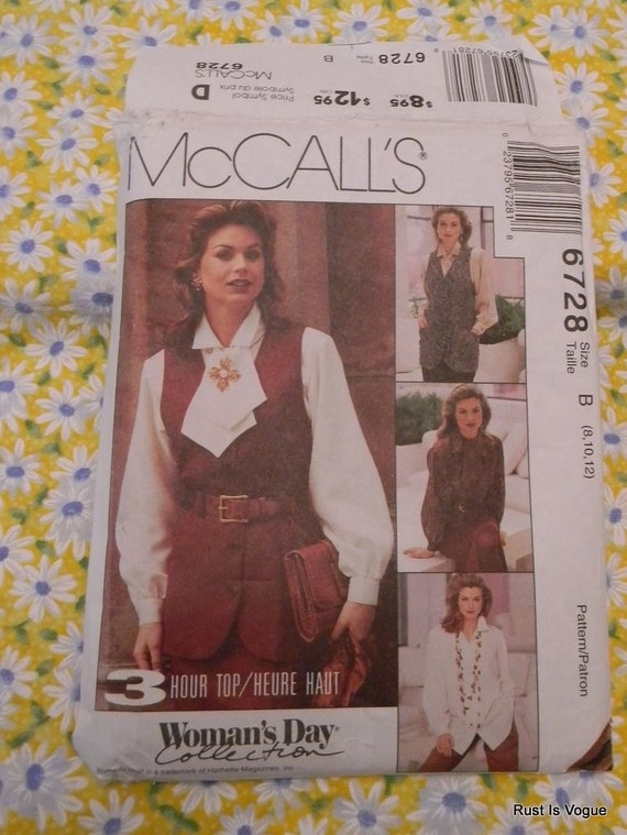 McCalls Misses Vest, Shirt and Ascot Pattern N 6728 Dated 1993Uncut Sizes 8 thru12