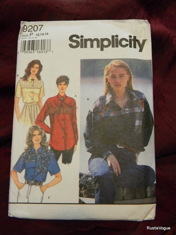 Simplicity Misses Shirt Pattern N9207 Dated 1994, Sizes 12 thru 16 Uncut