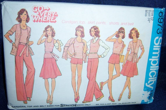 Vintage Simplicity Go Everywhere In Misses Skirt, pullover Top, Unlined cardigan, Wide Leg Pants and Shorts Pattern n 6973 Size 12, Uncut c