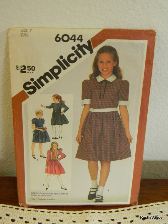Vintage Simplicity Girls Dress Pattern N6044 Uncut Size 7 Dated 1983