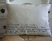 Pure Natural Oatmeal Linen HOME JOY LAUGHTER Accent Pillow Cover