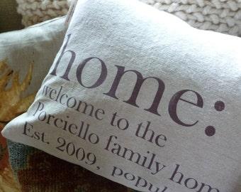 Personalized Pillow Cover Custom Family Name ORIGINAL DESIGN, Made to Order, Custom Pillow, Family Pillow
