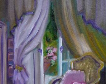 Miniature Art, Door to the Garden, Fine Art Print, ACEO