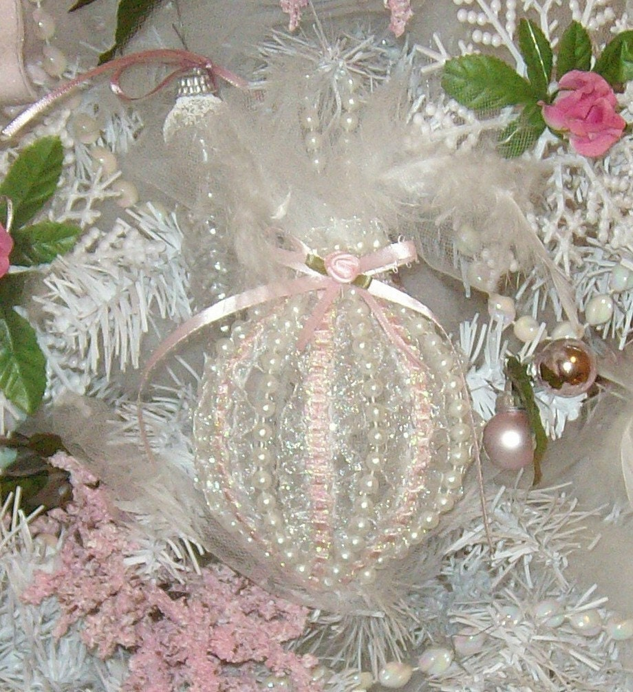 Victorian Style Lace and Beads Christmas Ornament