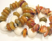 Bracelet Bunch - Chunky bracelet trio of jade, sponge coral and carnelian - Taupe Trio - THREE BRACELETS