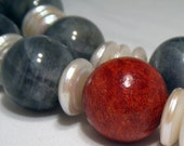 Handmade Necklace - Steel gray opal, freshwater pearl and red coral - London
