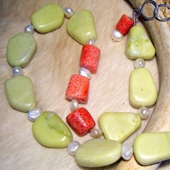 Chunky Necklace - Jade, coral and freshwater pearl necklace - Pistachio Panache