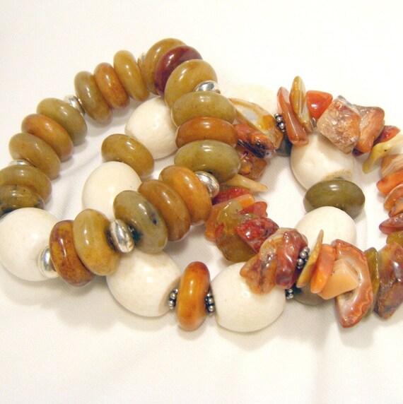 Bracelet Bunch - Chunky bracelet trio of jade, sponge coral and carnelian - Taupe Trio - THREE BRACELETS