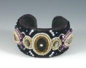 Black / Purple Bead Embroidered Cuff