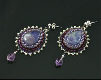 After The Ball Earrings, Bead Embroidered, Purple, Silver