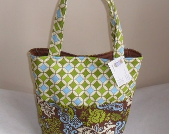 Large Brown, Blue and Green Floral Tote Bag Purse LAST ONE