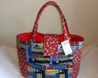 Large Firefighter Fireman Firetruck Diaper Bag Tote TOO CUTE