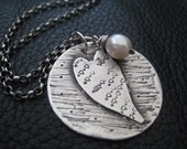 Heart Charm Necklace Hand Stamped Pendant