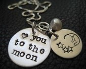 Cyber Monday Hand Stamped Jewelry Heart You To The Moon Valentine Necklace