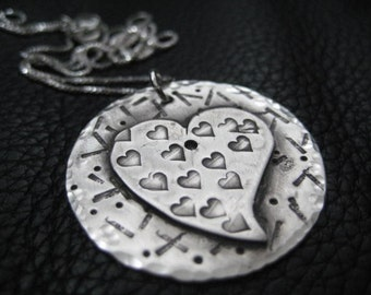 heart necklace organic stamped