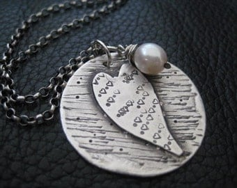 Artisan Hand Stamped Hand Cut Heart Charm, Textured Necklace With Wire Wrapped, Freshwater Pearl, Valentines Day